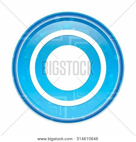 Record Icon Isolated On Floral Blue Round Button