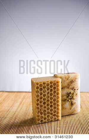 Spa accessories natural hand crafted soap chamomile and honey. poster