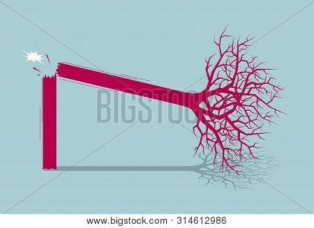 The tree fell and the tree broke.Isolated on blue background. poster