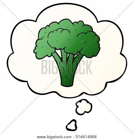 cartoon brocoli with thought bubble in smooth gradient style