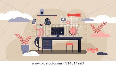 Teenager Desk Vector Illustration. Flat Tiny Teen Lifestyle Persons Concept. Room Furniture For Gene