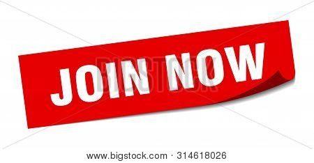 Join Now Sticker. Join Now Square Isolated Sign. Join Now