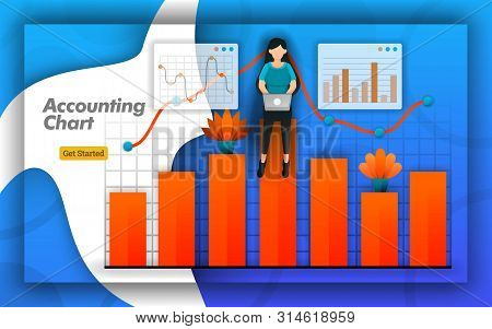 Accounting Chart Design With Bar Charts And Line Charts For All Accounting Activities, Accounting Tr
