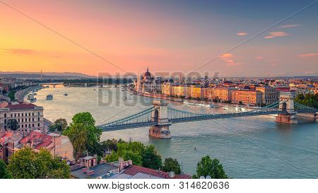 Budapest, Hungary. Panoramic Aerial Cityscape Image Of Budapest Panorama With Szechenyi Chain Bridge