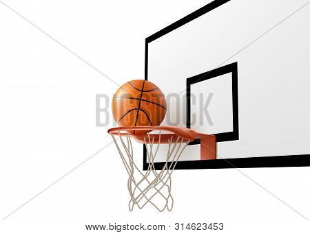 Basketball Ball Falling Into Ring Hoop Net At Backboard Isolated On White Background, Sport Competit
