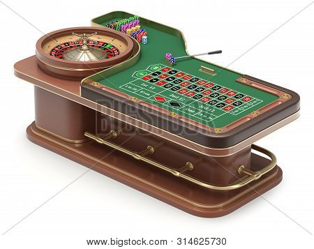 Roulette Table With Chips, Rack And Roulette Wheel - 3d Illustration