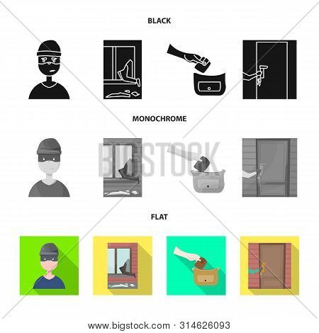 Vector Design Of Crime And Steal Sign. Collection Of Crime And Villain Vector Icon For Stock.