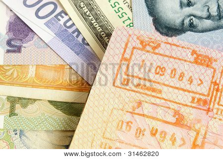 Passport With Stamps On A Different Money Background