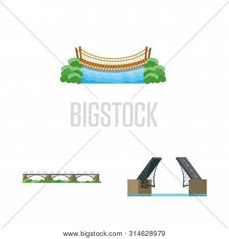 Isolated Object Of Bridgework And Bridge Sign. Set Of Bridgework And Landmark Stock Vector Illustrat