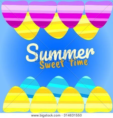 Summer Vector Background With Seashell Elements. Summer Colorfull Seashells On The Blue Backdrop. Su