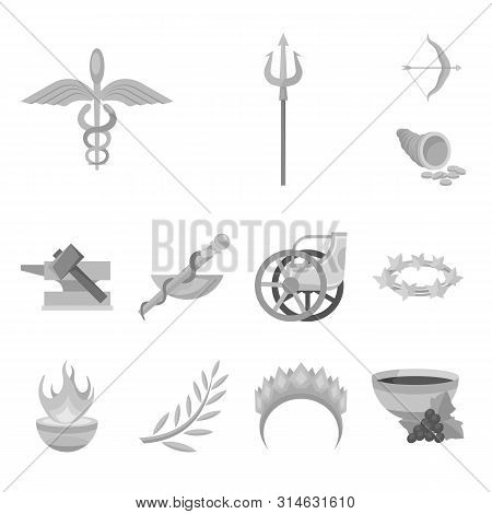 Vector Design Of Ancient And Culture Symbol. Collection Of Ancient And Antique Stock Symbol For Web.