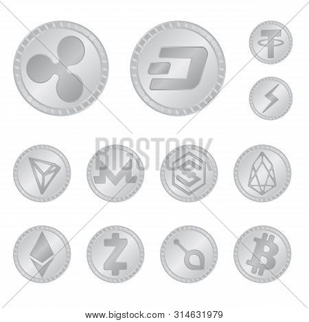 Vector Illustration Of Cryptography And Finance Symbol. Set Of Cryptography And E-business Vector Ic
