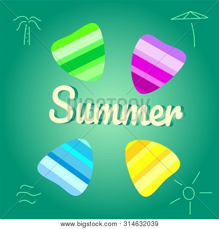 Summer Vector Background With Seashell Elements. Summer Colorfull Seashells On The Aqua Green Backdr