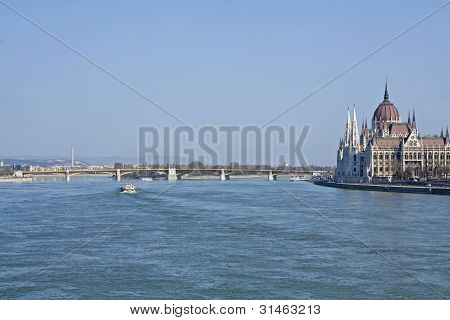 Hungarian Parliament On The Banks Of The River Danube