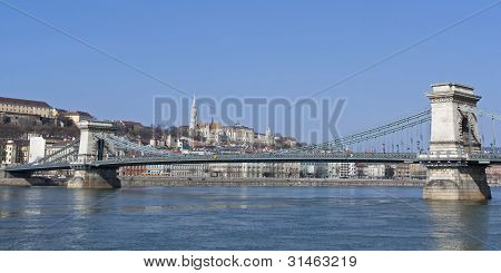 Chain Bridge Over The River Danube In Budapest Hungary