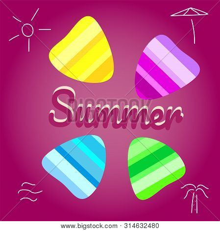 Summer Vector Background With Seashell Elements. Summer Colorfull Seashells On The Pink Backdrop. Su