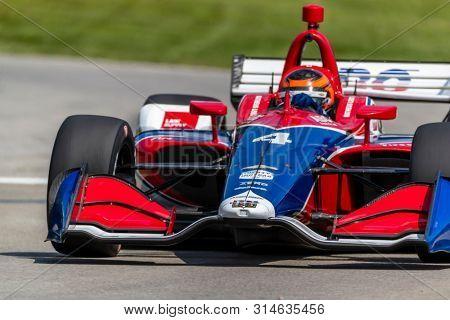 July 26, 2019 - Lexington, Ohio, USA: MATHEUS LEIST (4) of Brazil  practices for the Honda Indy 200 at Mid Ohio at Mid-Ohio Sports Car Course in Lexington, Ohio.