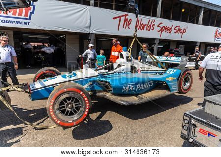 July 26, 2019 - Lexington, Ohio, USA: JOSEF NEWGARDEN (2) of the United States  crashes during a practice session  for the Honda Indy 200 at Mid Ohio at Mid-Ohio Sports Car Course in Lexington, Ohio.