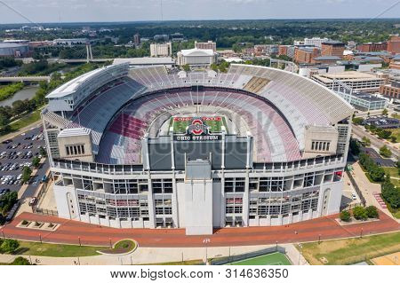 July 25, 2019 - Columbus, Ohio, USA: Aerial view of Ohio Stadium, also known as the Horseshoe, the Shoe, is an American football stadium in Columbus, Ohio, on the campus of The Ohio State University.