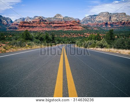 Driving On Boynton Pass Road In Sedona, Arizona Towards Boynton Canyon And Mescal Mountain.