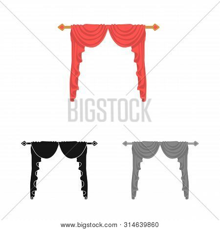 Vector Illustration Of Lambrequin And Hall Icon. Collection Of Lambrequin And Cosiness Stock Vector