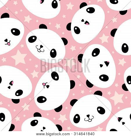 Cute Kawaii Style Laughing Pandas And Stars. Seamless Vector Pattern On Soft Pink Background. Great