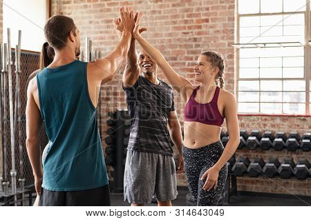 Happy fitness class giving high-five after completing exercise session. Group of multiethnic sporty people exult after training. Smiling women and muscular men celebrate their success.