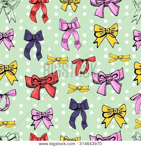Seamless Pattern  Of  Color Bows. Hand Drawn Ink And Colored Sketch. Different Bows  On Light Green