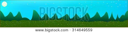 Azure Sky, And Mountains Landscape. Abstract, Horizontal Texture Background Picture. Colorful Skinal