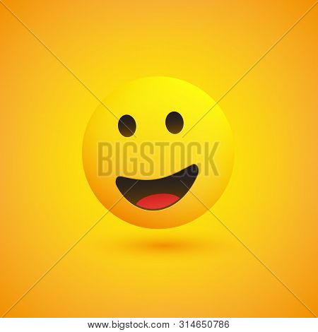 Smiling Emoji - Simple Happy Emoticon With Open Eyes On Yellow Background - Vector Design