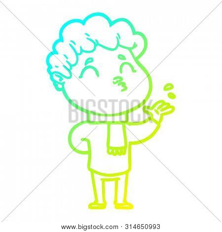cold gradient line drawing of a cartoon man pouting poster