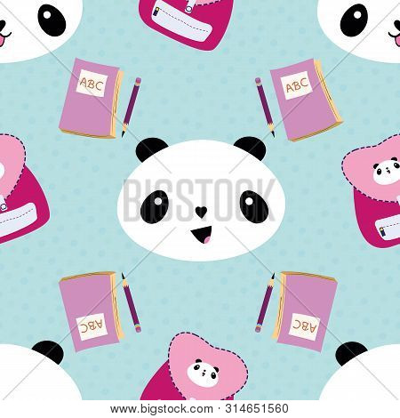 Cute Kawaii Style Laughing Pandas, Backpacks, Notebooks And Pencils. Seamless Vector Pattern On Conf