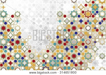 Arabic Ornamental Background In Color. Islamic Ornamental Colorful Detail Of Mosaic. Arabic, East, I