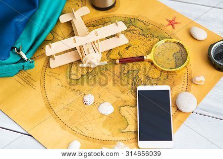 Lets Go To New Adventures And Discoveries. Travel Accessories. World Map, Watches, Aircraft And Othe