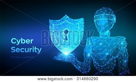 Cyber Security Concept. Shield With Keyhole Icon. Internet Bot And Cybersecurity. Abstract Robot Hol