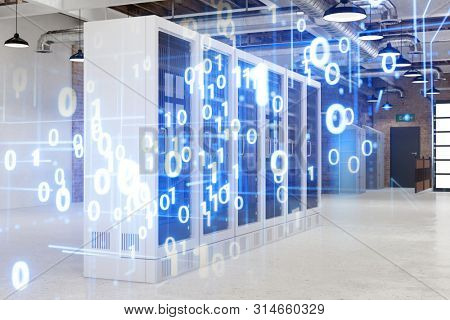 Server room in data center with binary numbers as technology concept (3d rendering)