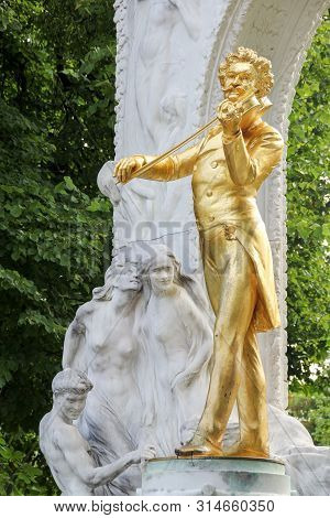 Vienna, Austria - 21 August 2015: The Golden Statue Of The Great Musician Johann Strauss In The City