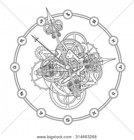 Round clock with decorative hour hands, gears, cogwheels and zodiac symbols. Linear drawing and design for a coloring book