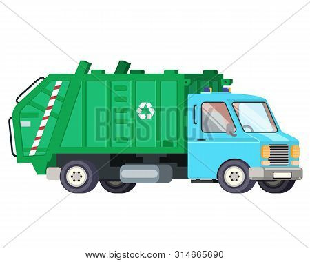Garbage Truck Car Machine Recycle Trash Transportation Automobile Flat Design Vector Illustration