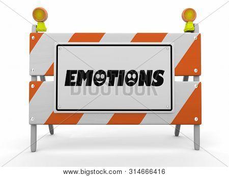 Emotions Feelings Emotional States Construction Sign Barricade 3d Illustration