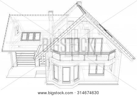 Wireframe Blueprint Drawing Of 3d House - Vector Illustration
