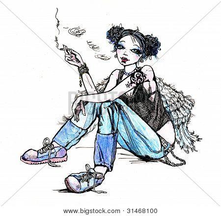Girl angel hippie smoking cigarette - hand drawn illustration