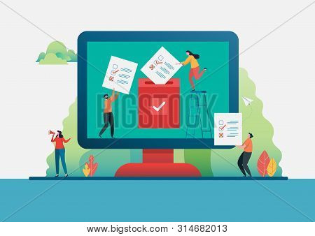 People Putting Voting Paper In The Ballot Box. Online Voting. Election Internet System. Flat Vector