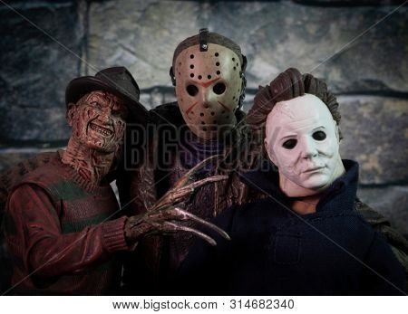 JULY 30 2019: Friday the 13th slasher Jason Voorhees and Halloween Michael Myers , Nightmare on Elm Street Freddy Kruger - NECA Ultimate Jason and Freddy action figure - custom Myers figure