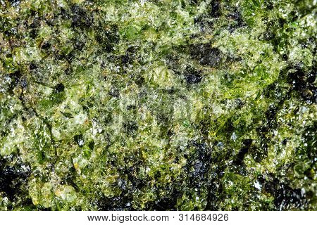 Closeup Of Green Apidote Mineral Stone, Pattern Background With Details Of Mineralogy