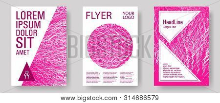 Brochure Layout Design Templates. Plastic Pink Color Waves Textures. Buzzing Rippling Motion Backgro