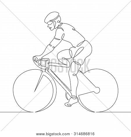 One continuous single drawn line art doodle man cyclist, bicyclist, cycler, wheelman, bicycler . Isolated image  hand drawn outline  white background. poster
