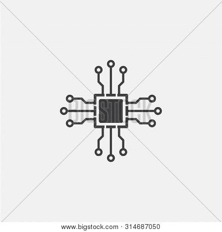 Chipset Glyph Icon. Monochrome Style Design Simple Element. Black Color Chipset Icon For Web And Mob