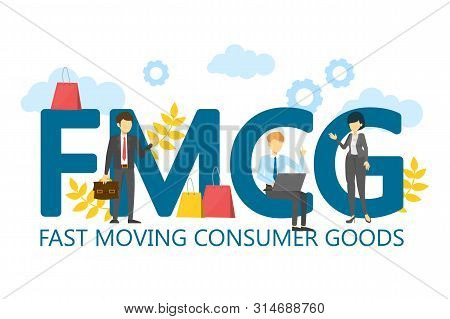 Fmcg Fast Moving Consumer Goods Vector Isolated. Business Acronym, Marketing Abbreviation. Quickly M