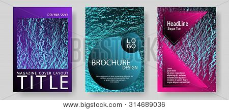 Catalog Cover Vector Templates. Pink Blue Purple Synthwave Textures. Marketing Catalog Trendy Layout